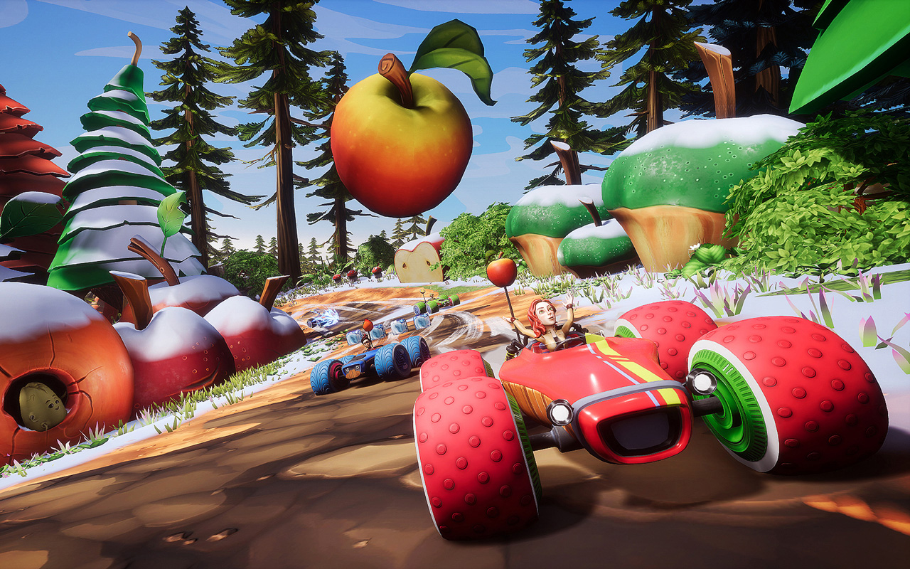 Free All-Star Fruit Racing Wallpaper in 1280x800