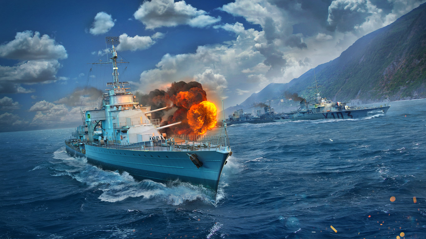 Free World of Warships Wallpaper in 1366x768