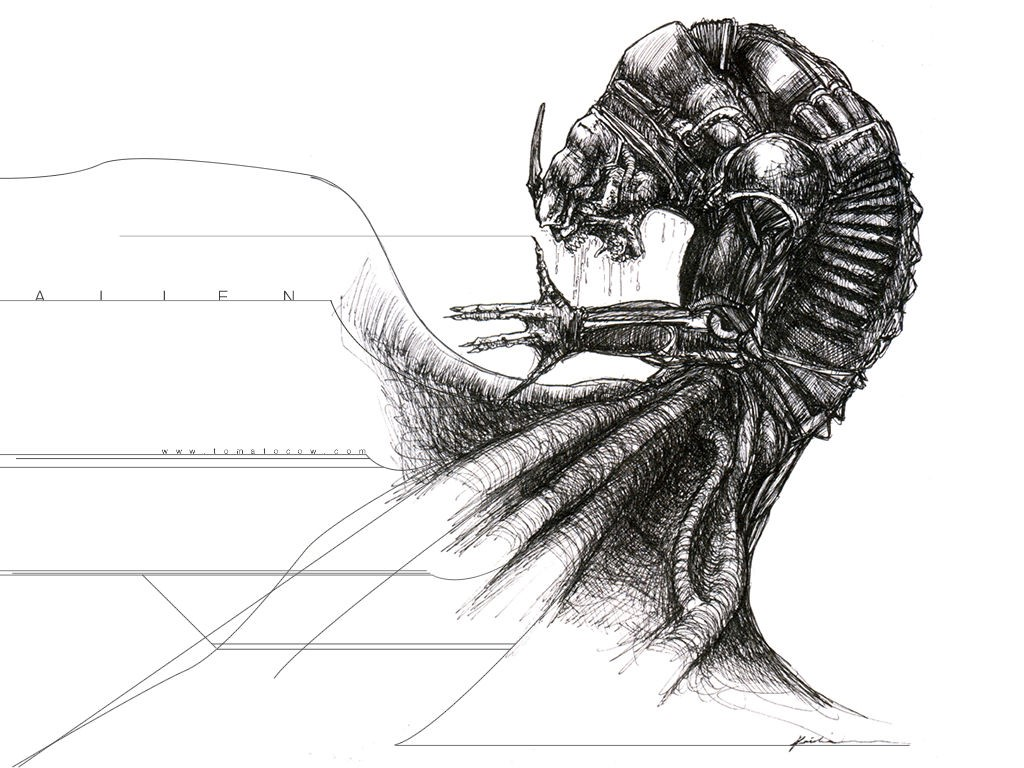 Abstract Wallpaper: Alien Drawing