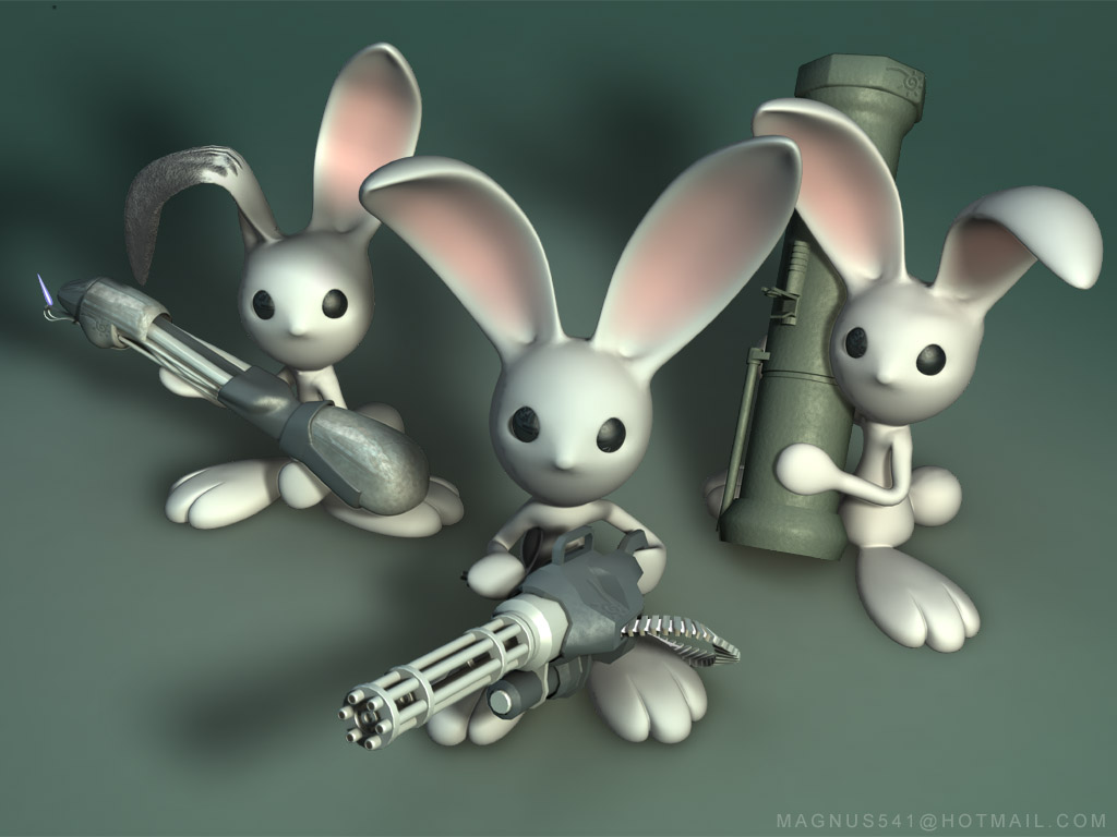 Abstract Wallpaper: Armed Bunnies
