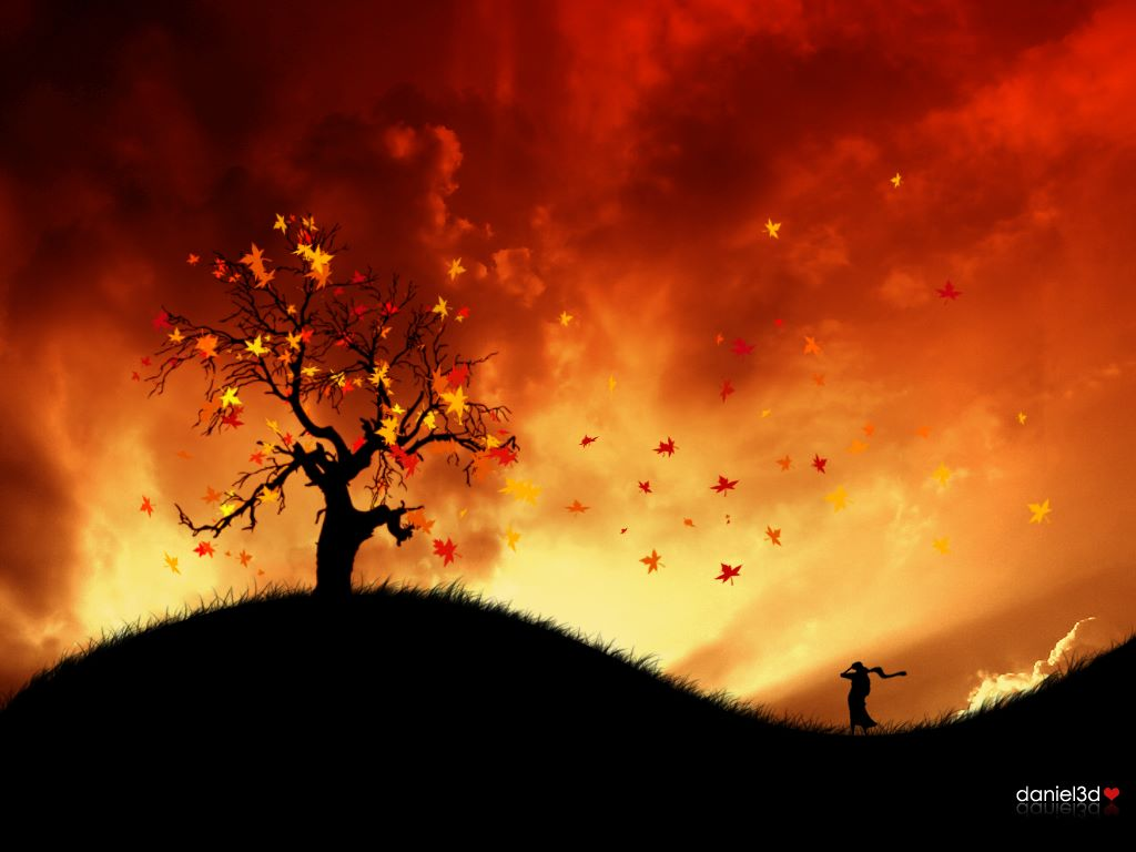 Abstract Wallpaper: Autumn in Fire