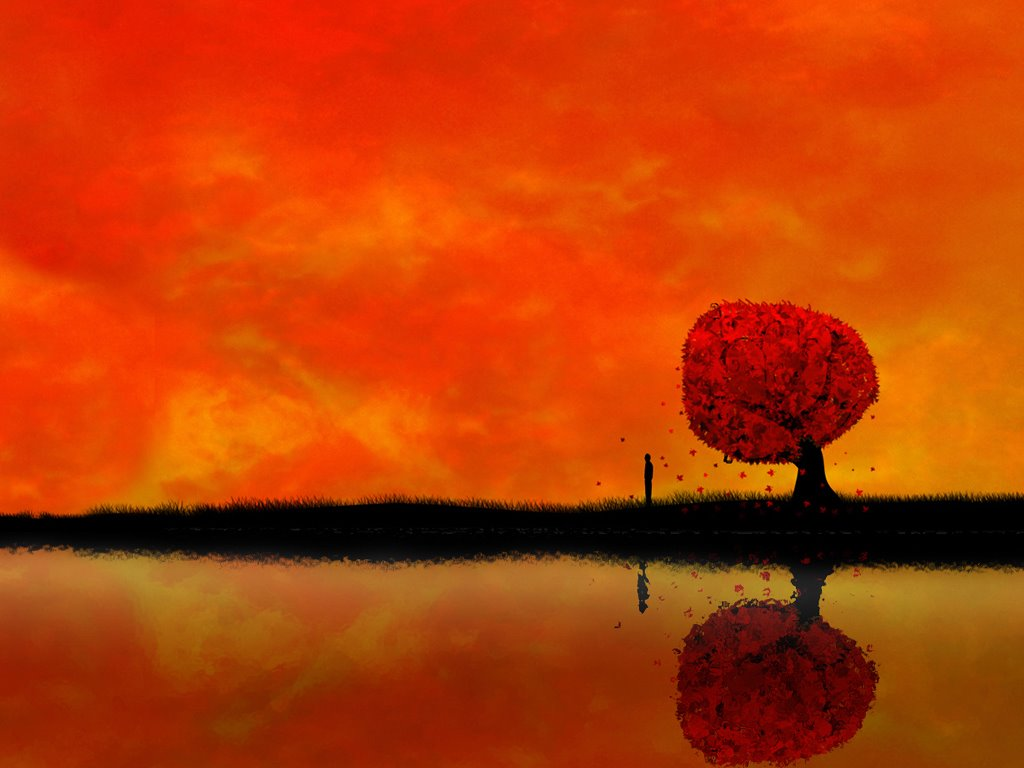 Abstract Wallpaper: Autumn Reflection