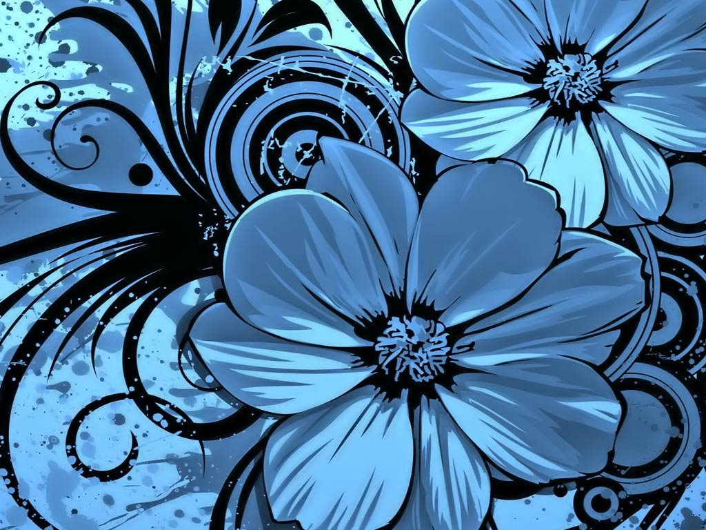 Abstract Wallpaper: Blue Flowers