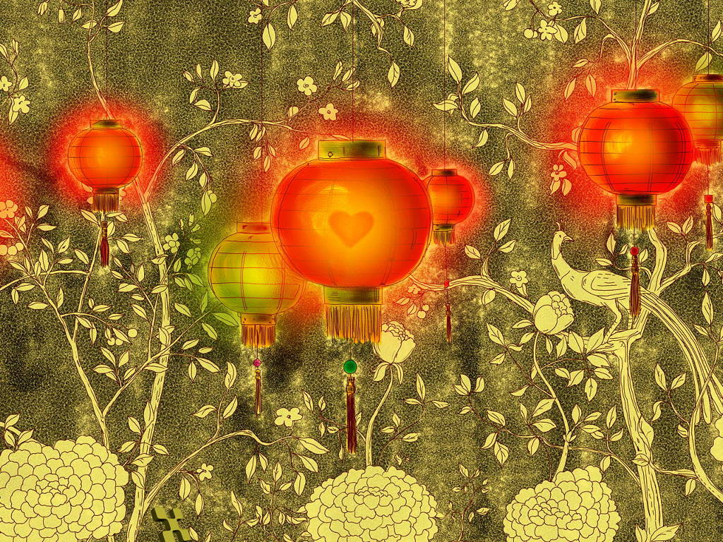 Abstract Wallpaper: Chinese Lanterns