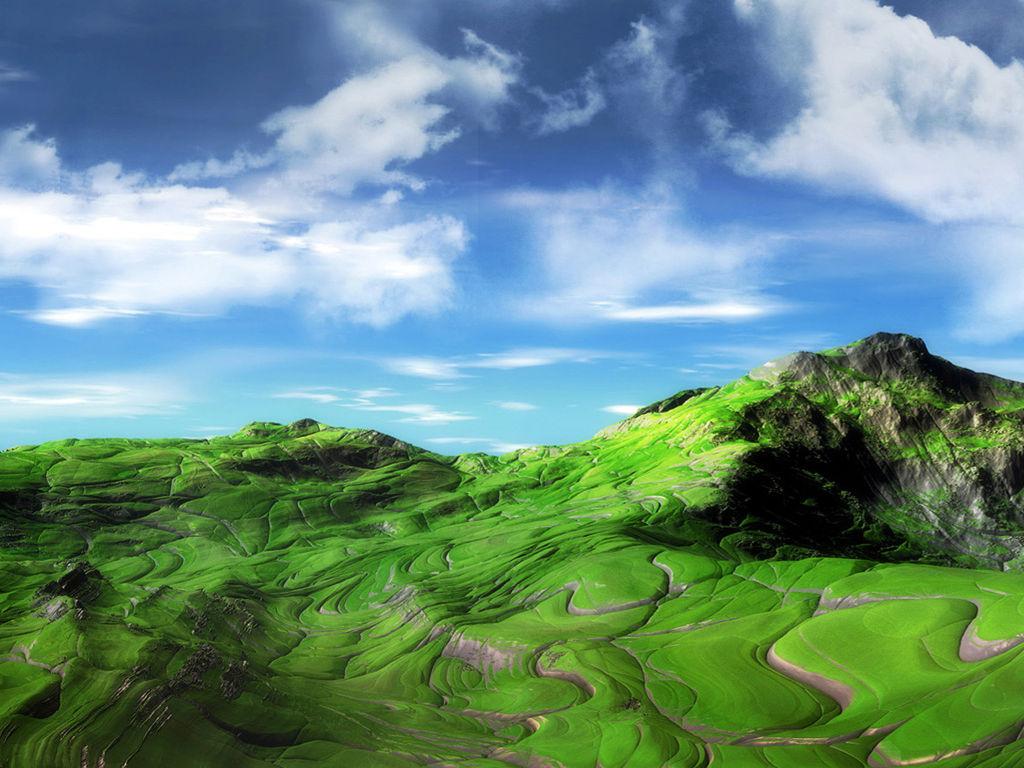 Abstract Wallpaper: Green Landscape