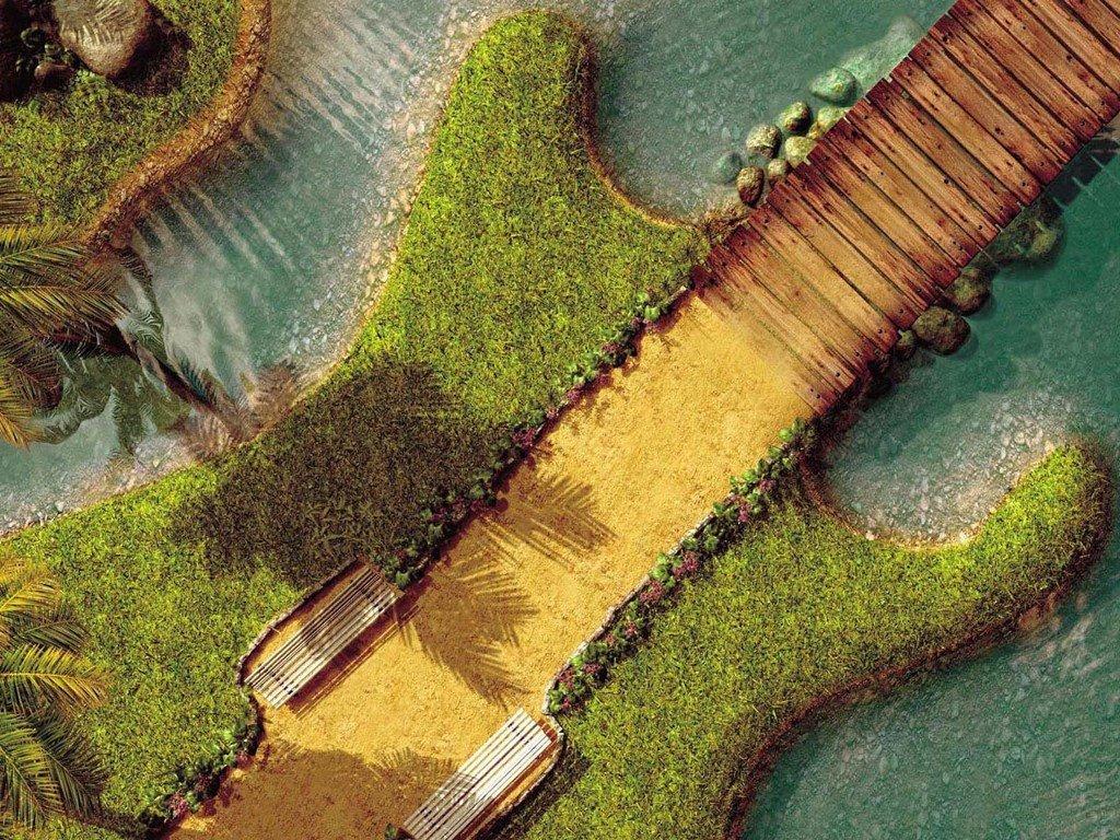 Abstract Wallpaper: Guitar Landscape