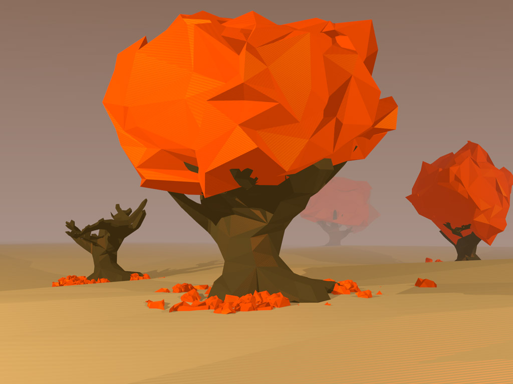 Abstract Wallpaper: Low Poly Trees