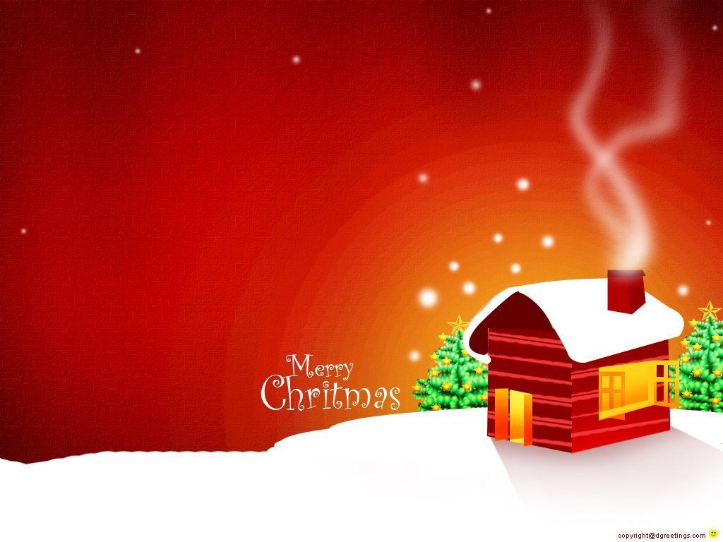 Abstract Wallpaper: Merry Christmas - Red House