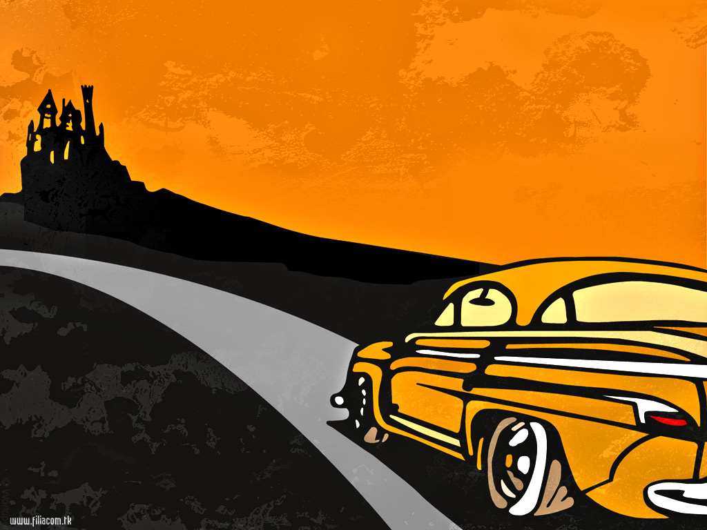 Abstract Wallpaper: Orange Coloured Car