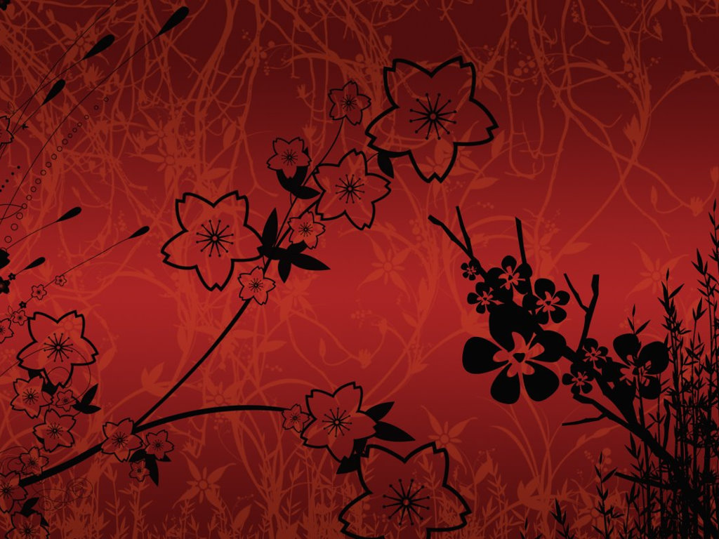 Abstract Wallpaper: Red Flowers