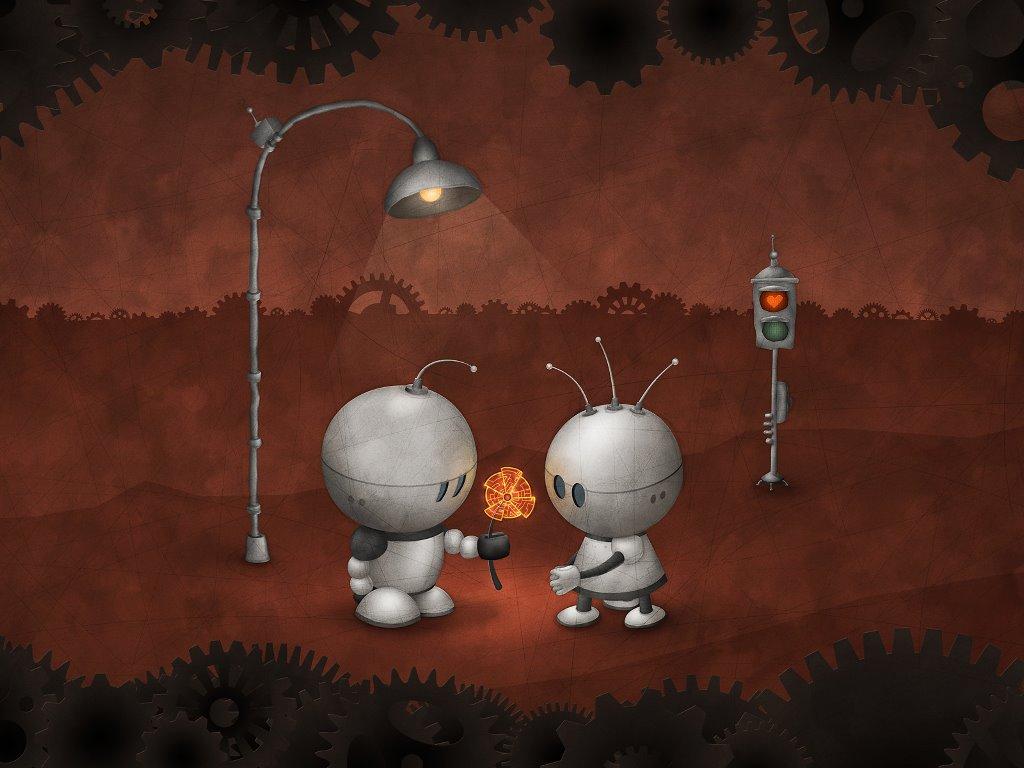 Abstract Wallpaper: Robots - Love