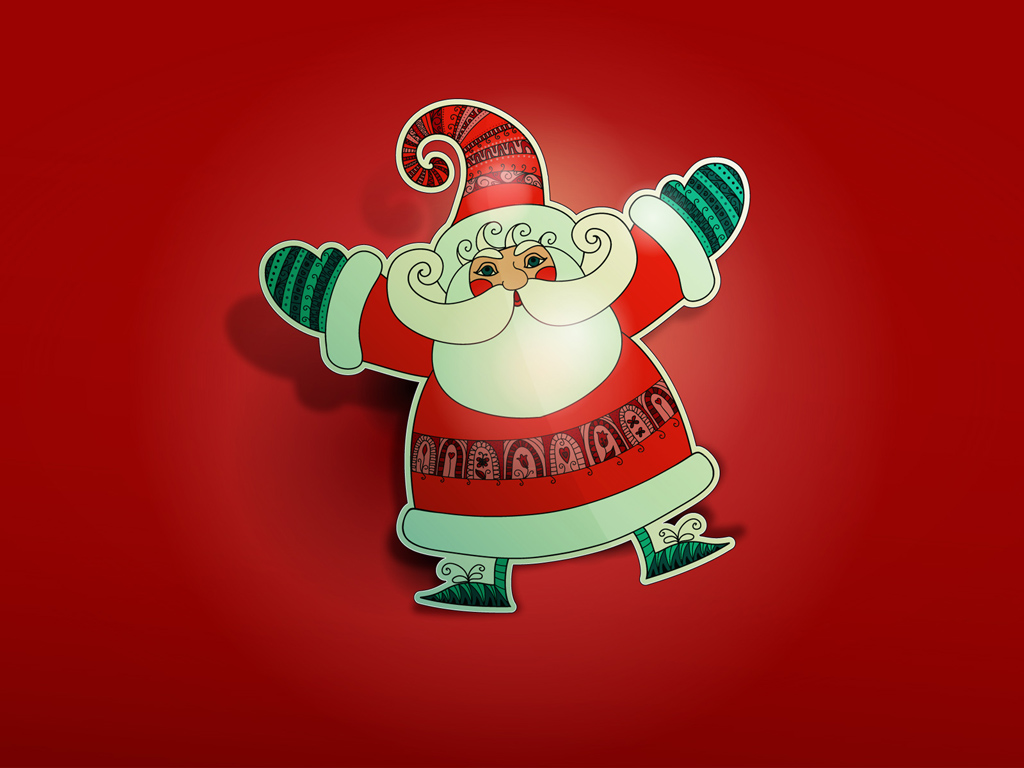 Abstract Wallpaper: Santa Claus - Papercraft