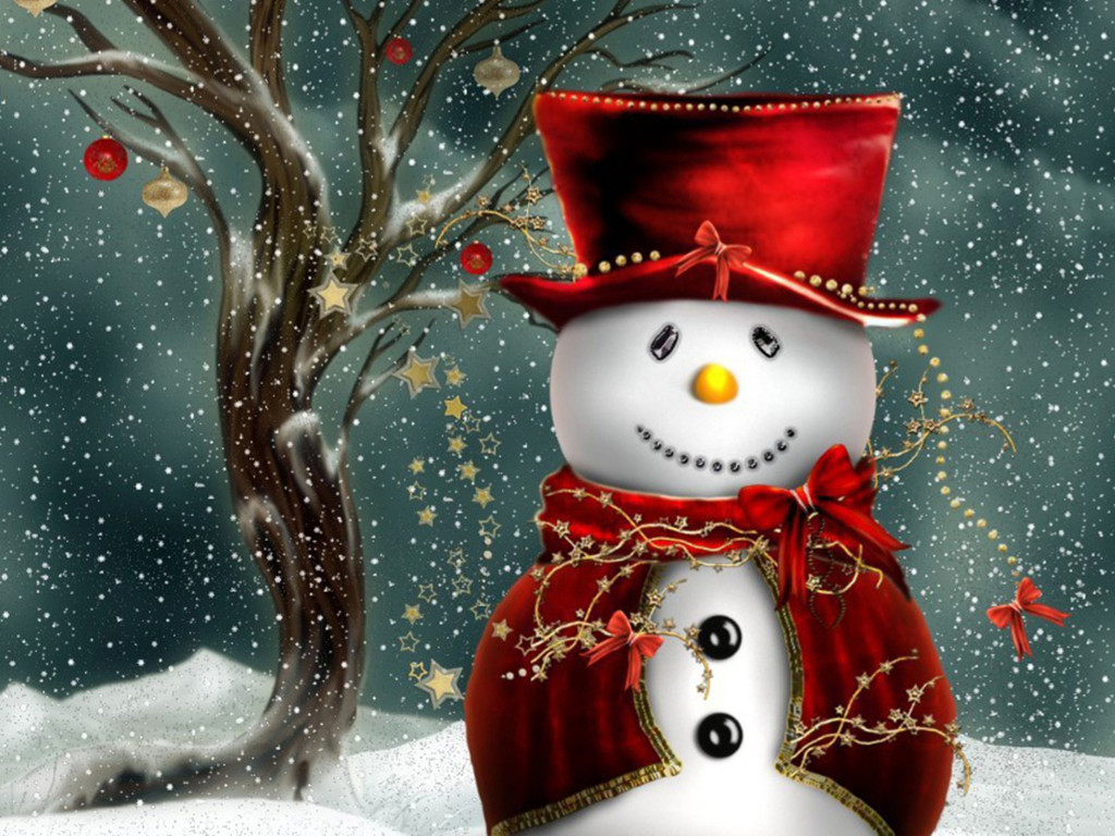 Abstract Wallpaper: Snowman - Christmas