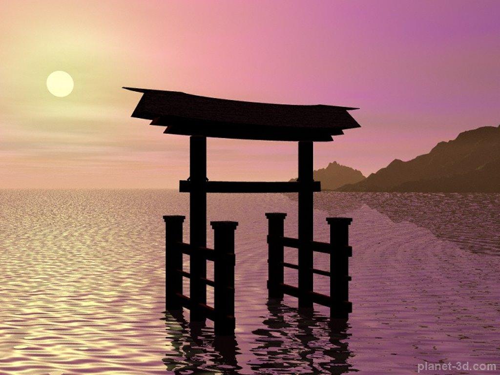 Abstract Wallpaper: Tori Gate - Digital Sunset