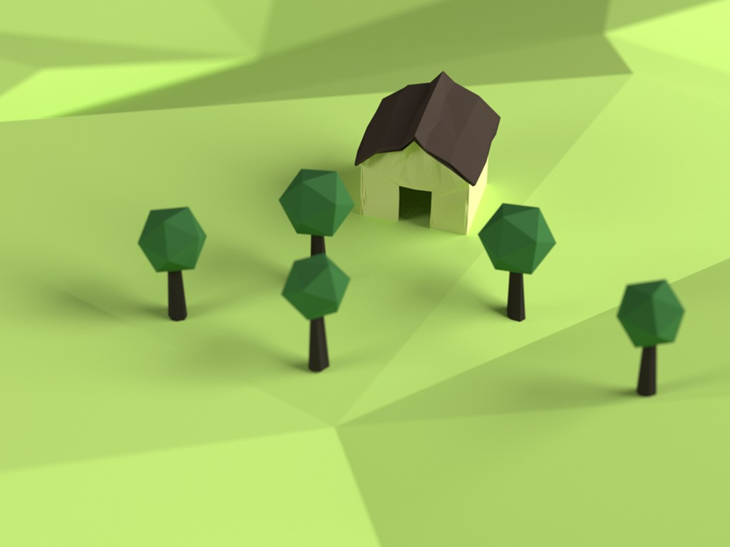 Abstract Wallpaper: Voxel House