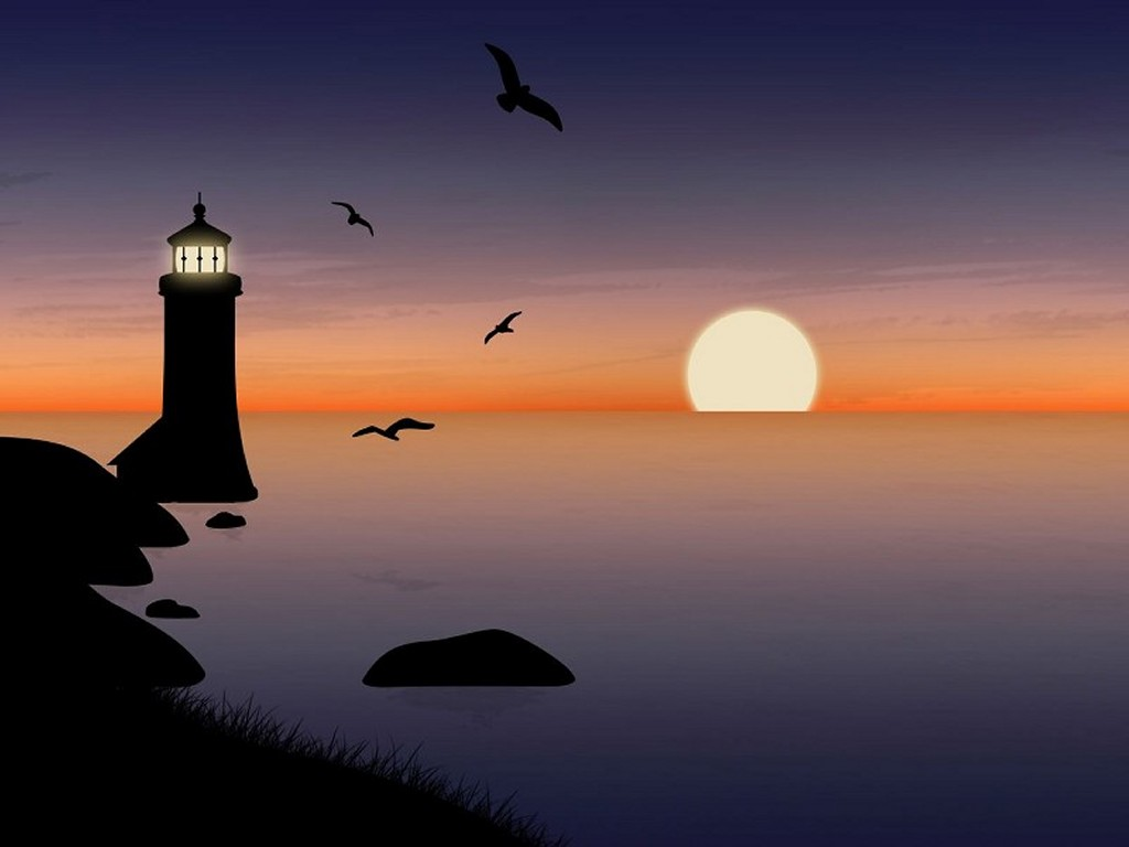 Abstract Wallpaper: Warm Glow Lighthouse