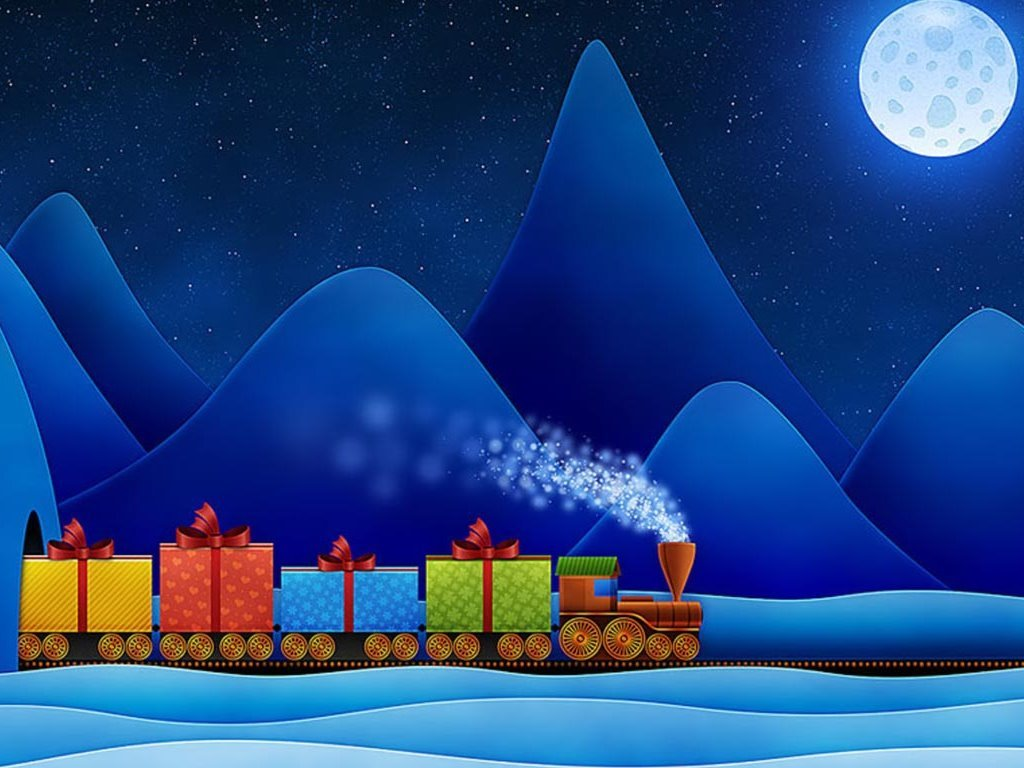 Abstract Wallpaper: Xmas - Gifts Train
