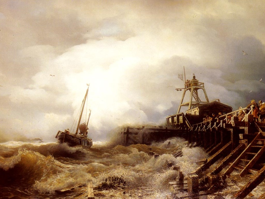 Artistic Wallpaper: Achenbach - A Fishing Boat Caught in a Squall