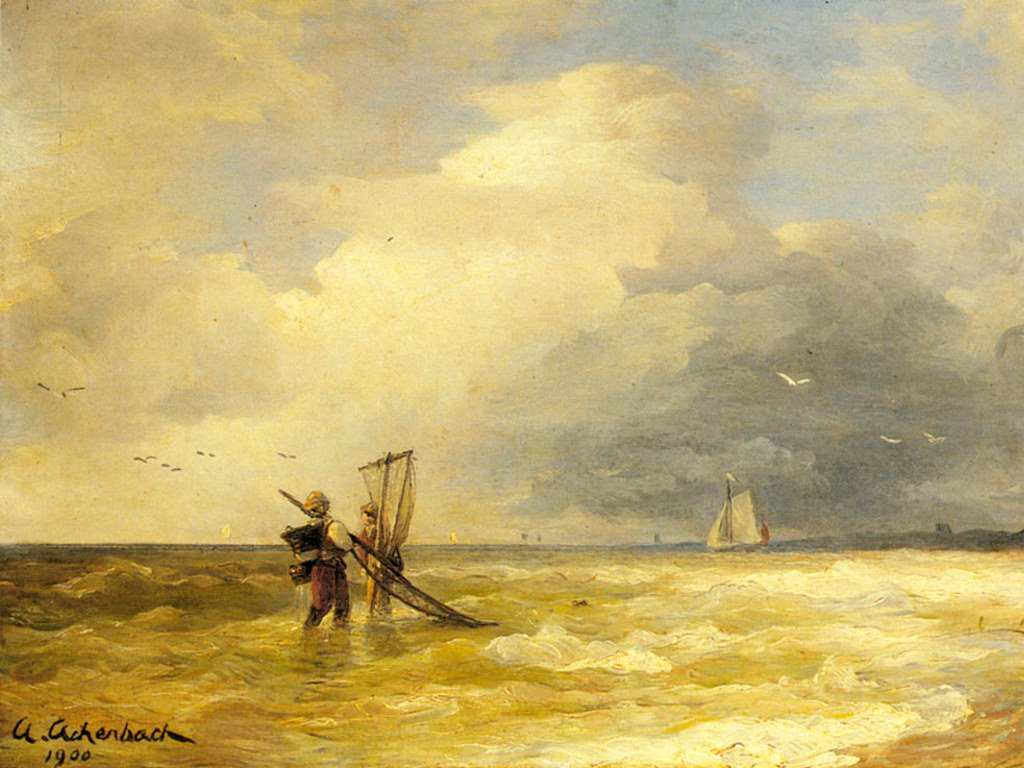 Artistic Wallpaper: Achenbach - Fishing Along the Shore