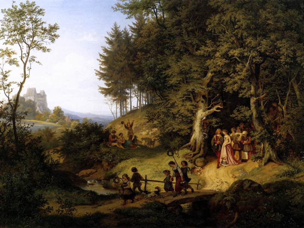 Artistic Wallpaper: Adrian Ludwig Richter - Bridal Procession in a Spring Landscape