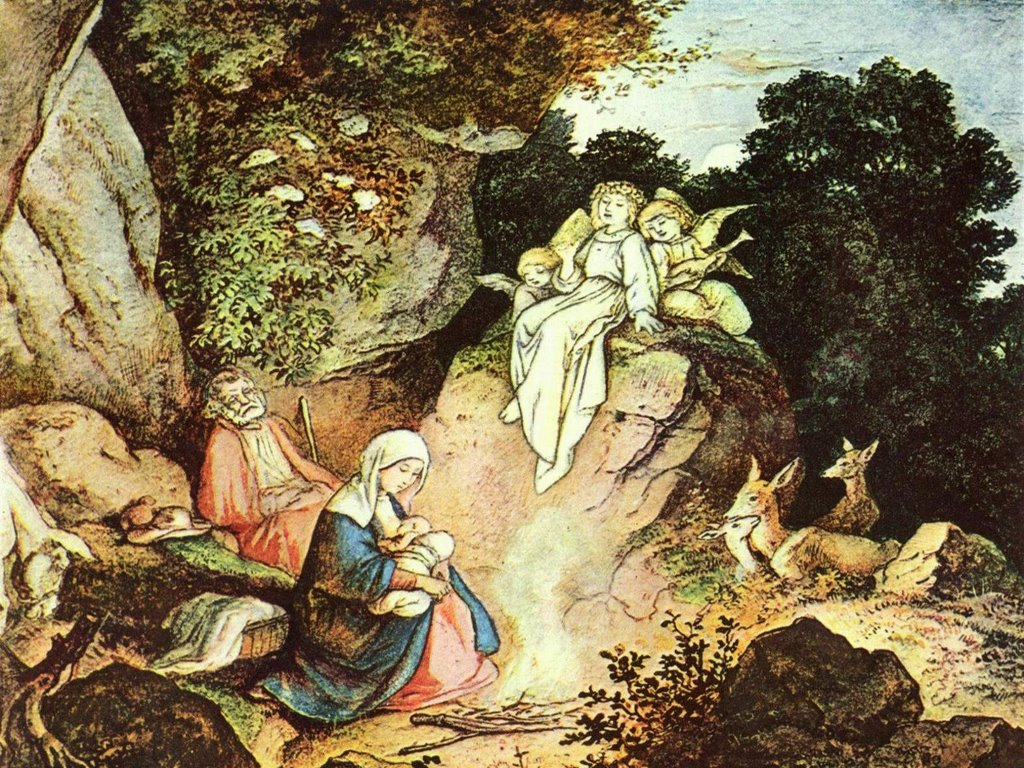 Artistic Wallpaper: Adrian Ludwig Richter - Nativity