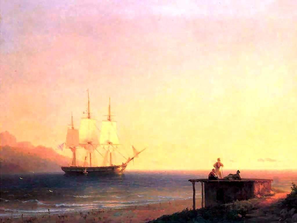 Artistic Wallpaper: Aivazovsky - Frigate Under Sails