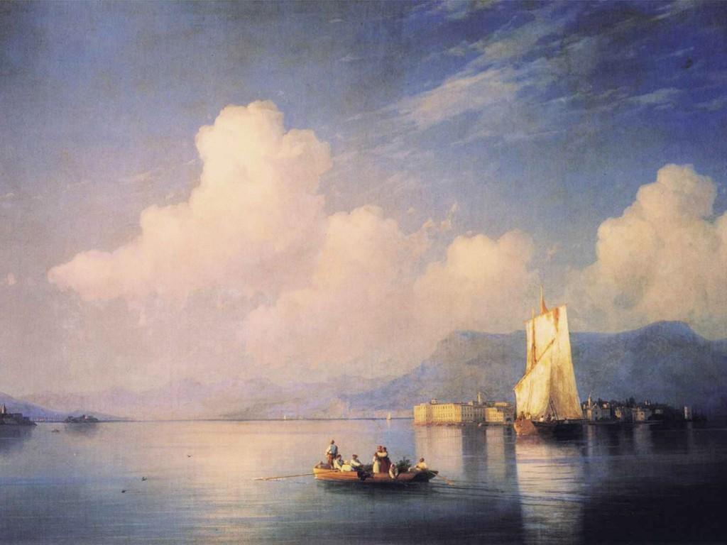 Artistic Wallpaper: Aivazovsky - Lake Maggiore in the Evening