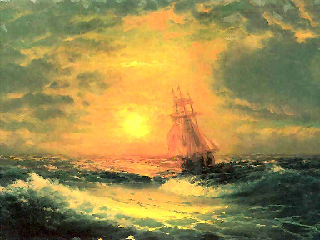 Artistic Wallpaper: Aivazovsky - Sunset at Sea