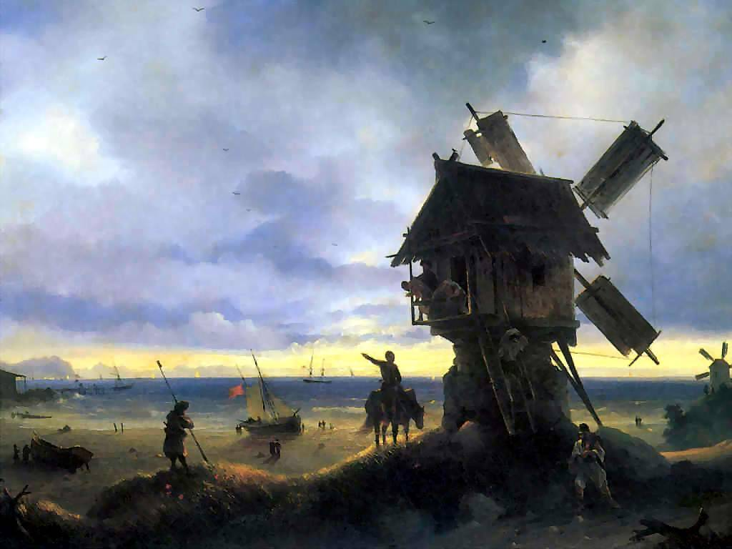 Artistic Wallpaper: Aivazovsky - Windmill on the Seashore