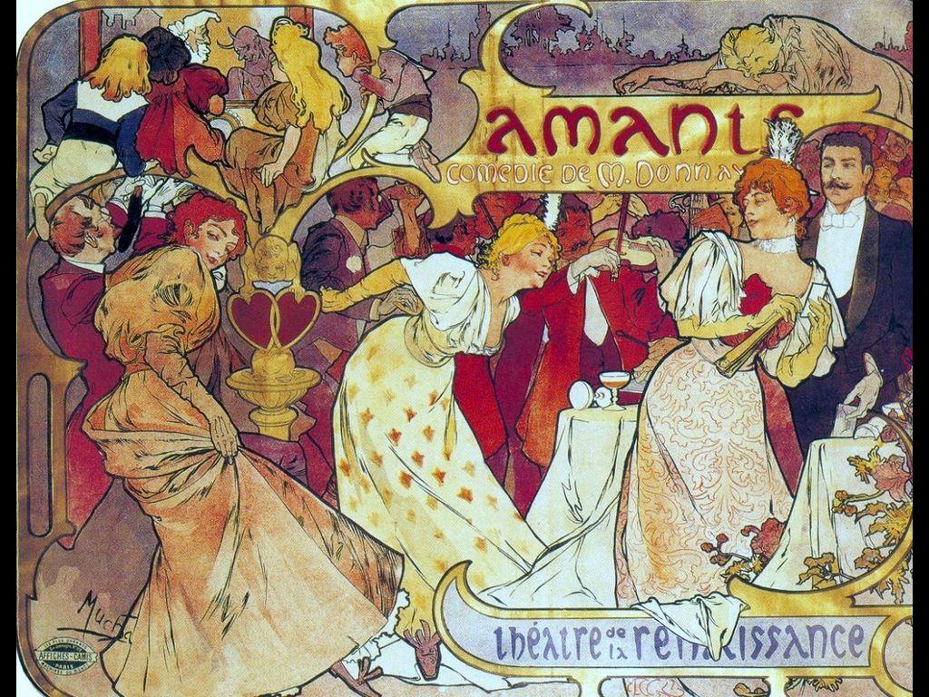 Artistic Wallpaper: Alphonse Mucha - Cartel para Los Amantes