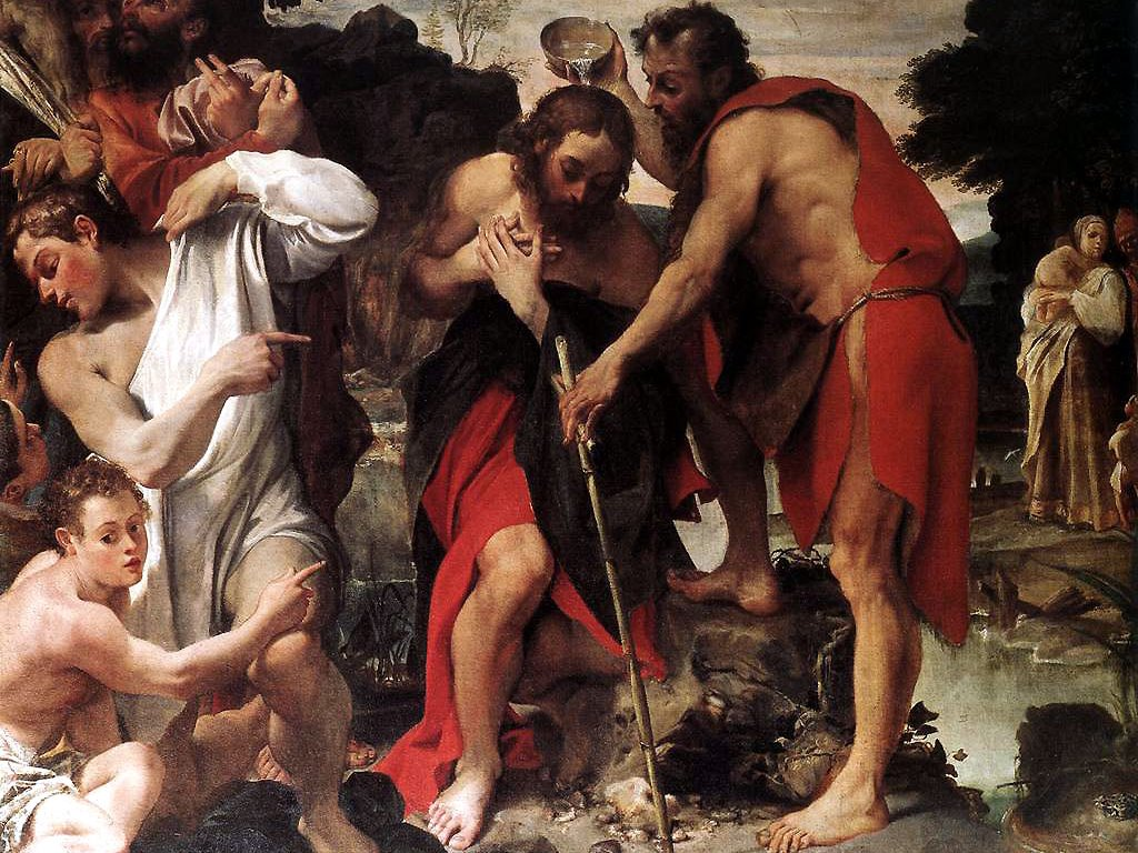 Artistic Wallpaper: Annibale Carracci - The Baptism of Christ