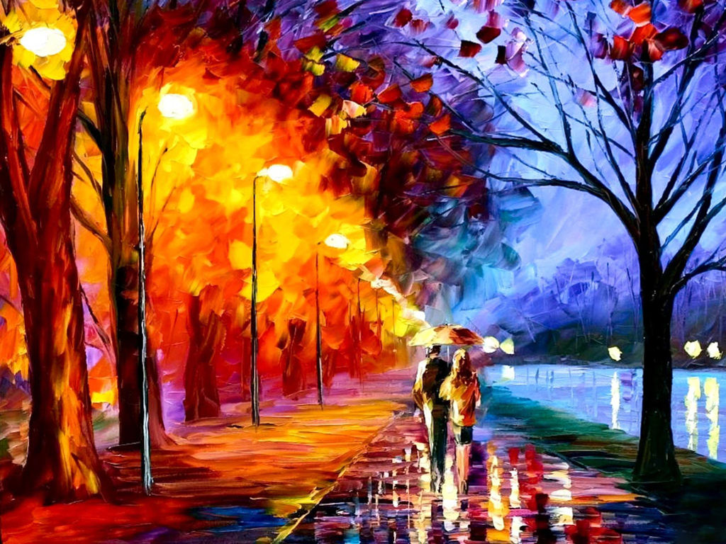 Artistic Wallpaper: Autumn - Oil Painting