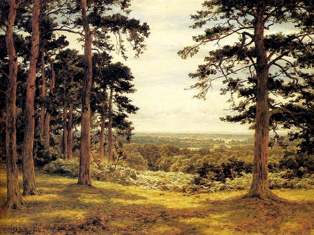 Artistic Wallpaper: Benjamin Williams Leader - A Peep Through the Pines