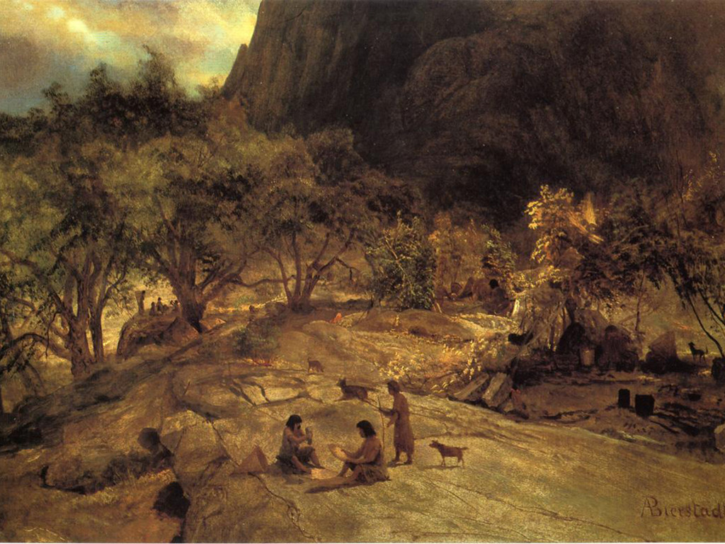 Artistic Wallpaper: Bierstadt - Mariposa Indian Encampment, Yosemite Valley, California