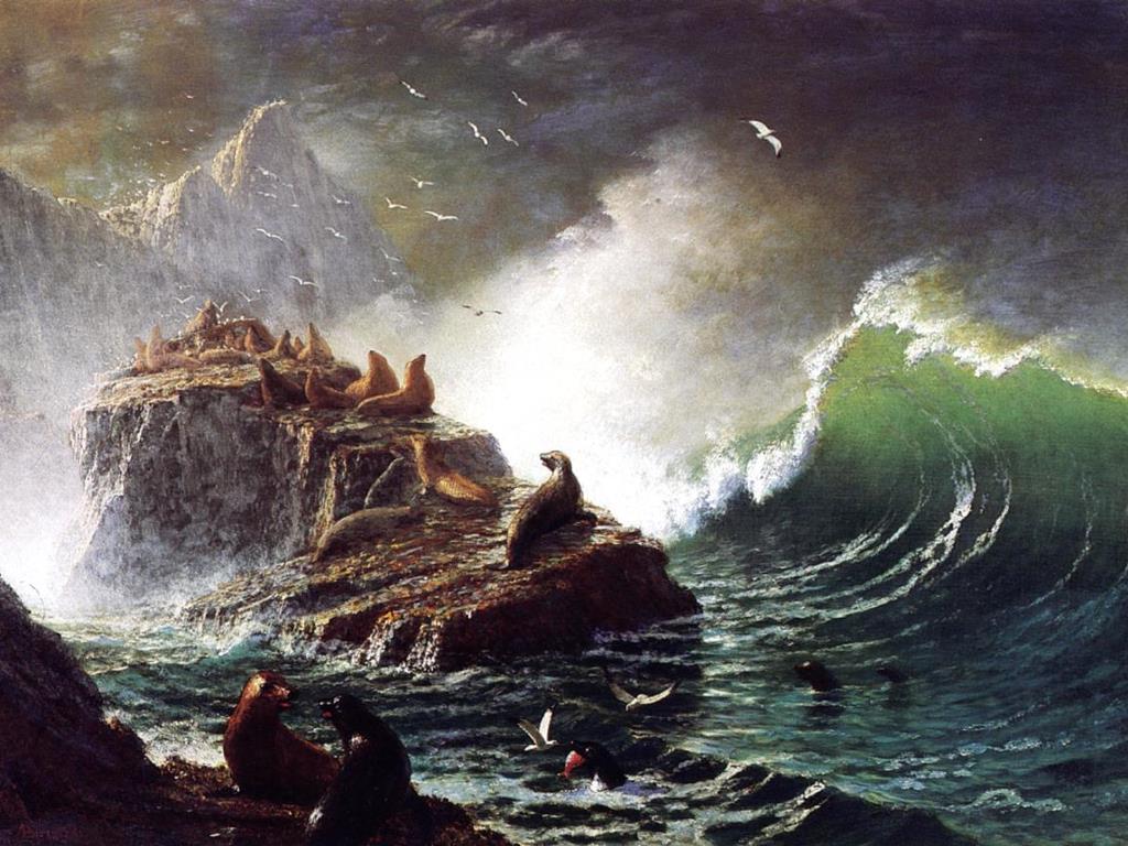 Artistic Wallpaper: Bierstadt - Seals on the Rocks (Farallon Islands)