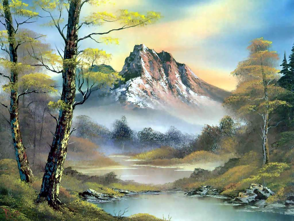 Artistic Wallpaper: Bob Ross - Mountain Splendor
