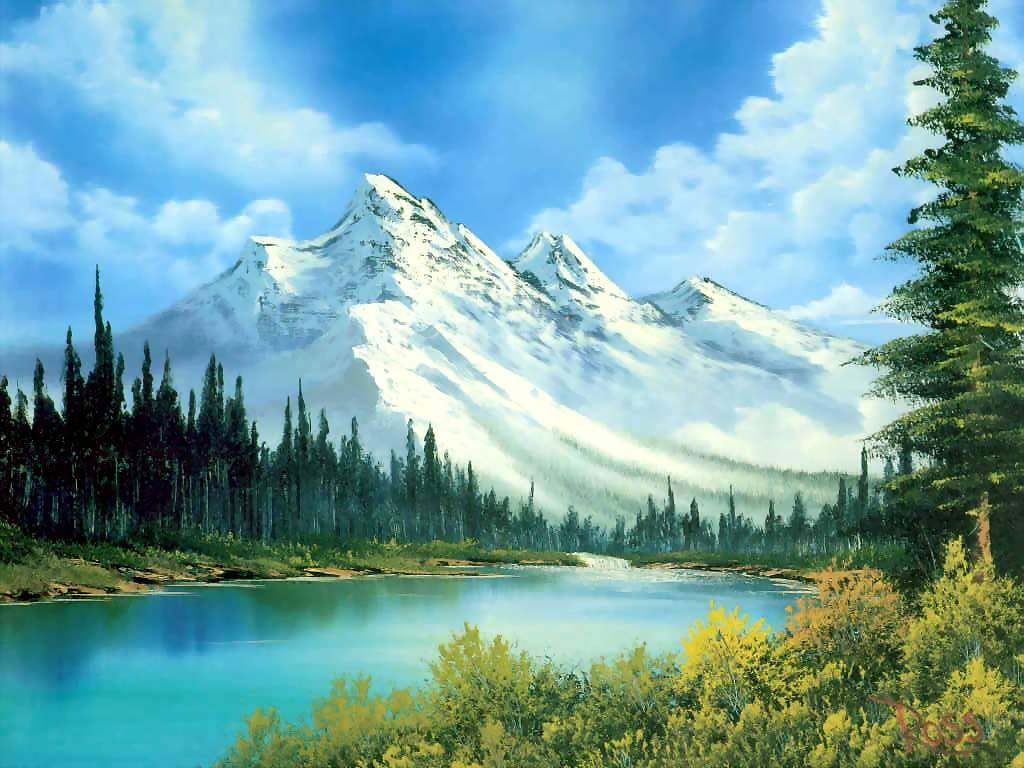 Artistic Wallpaper: Bob Ross - Mountain Waterfall