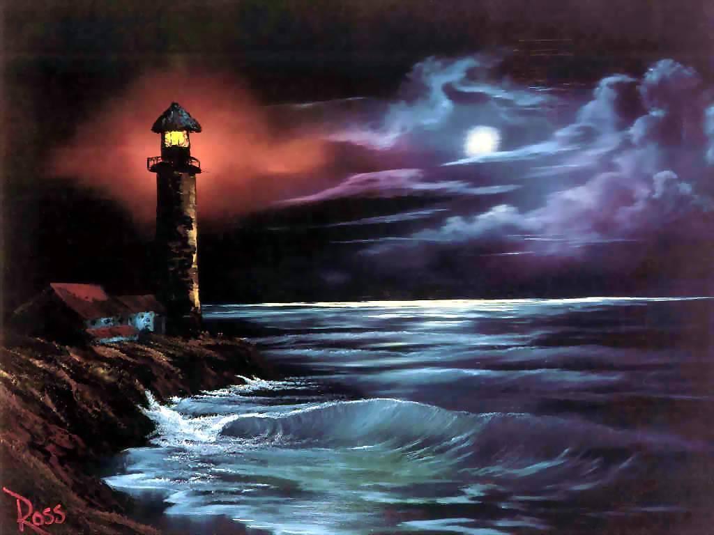 Artistic Wallpaper: Bob Ross - Night Light
