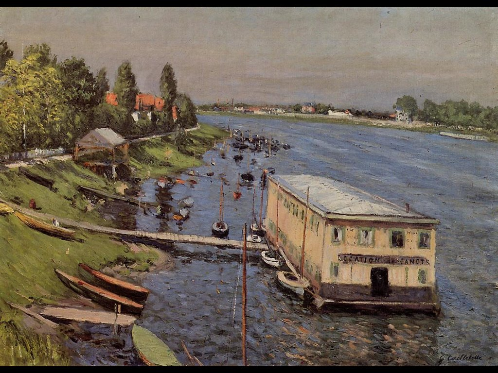 Artistic Wallpaper: Caillebotte - Boathouse in Argenteuil