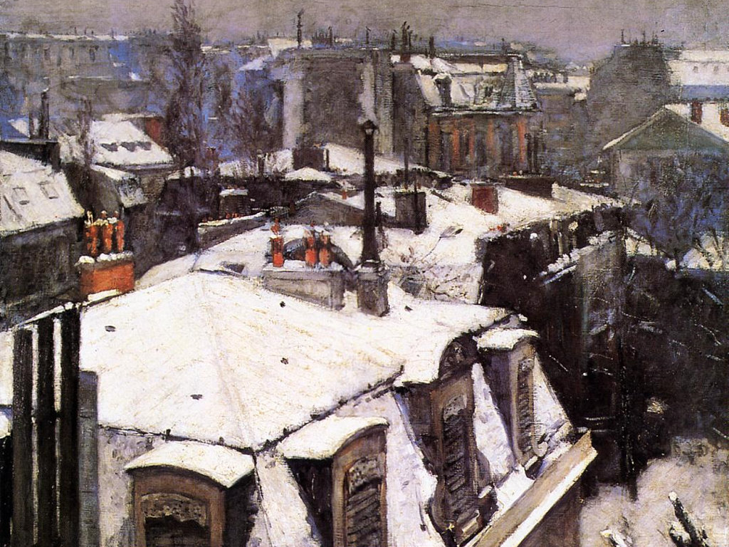 Artistic Wallpaper: Caillebotte - Rooftops Under Snow