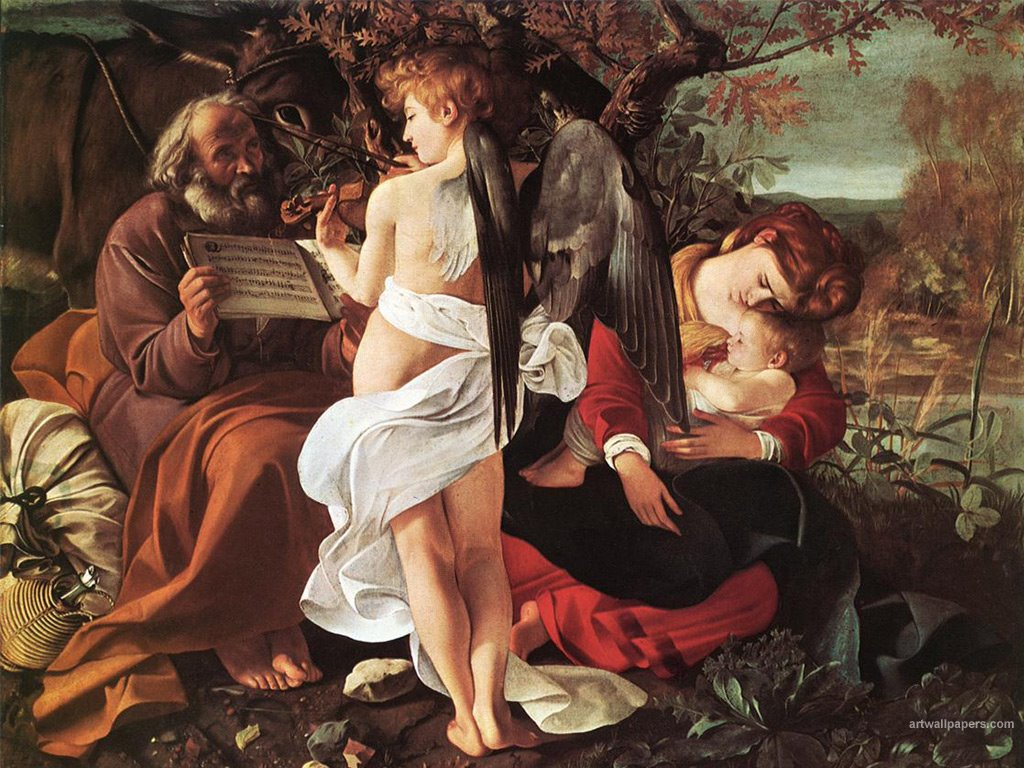 Artistic Wallpaper: Caravaggio - Rest on the Flight to Egypt