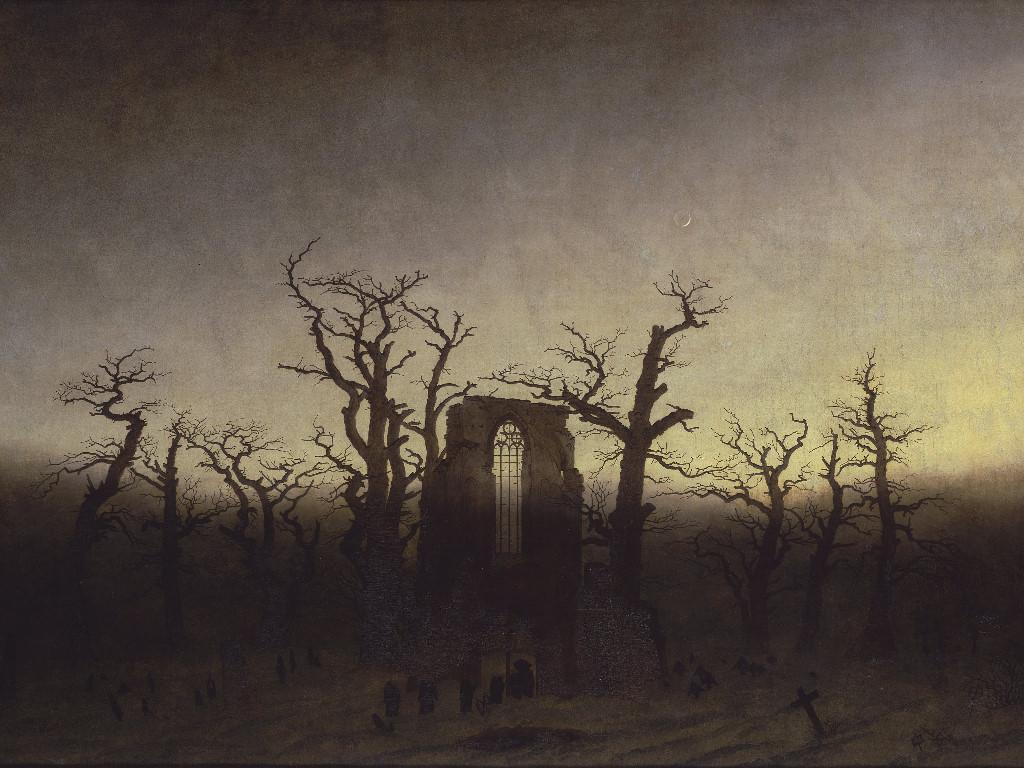 Artistic Wallpaper: Caspar David Friedrich - The Abbey in the Oakwood