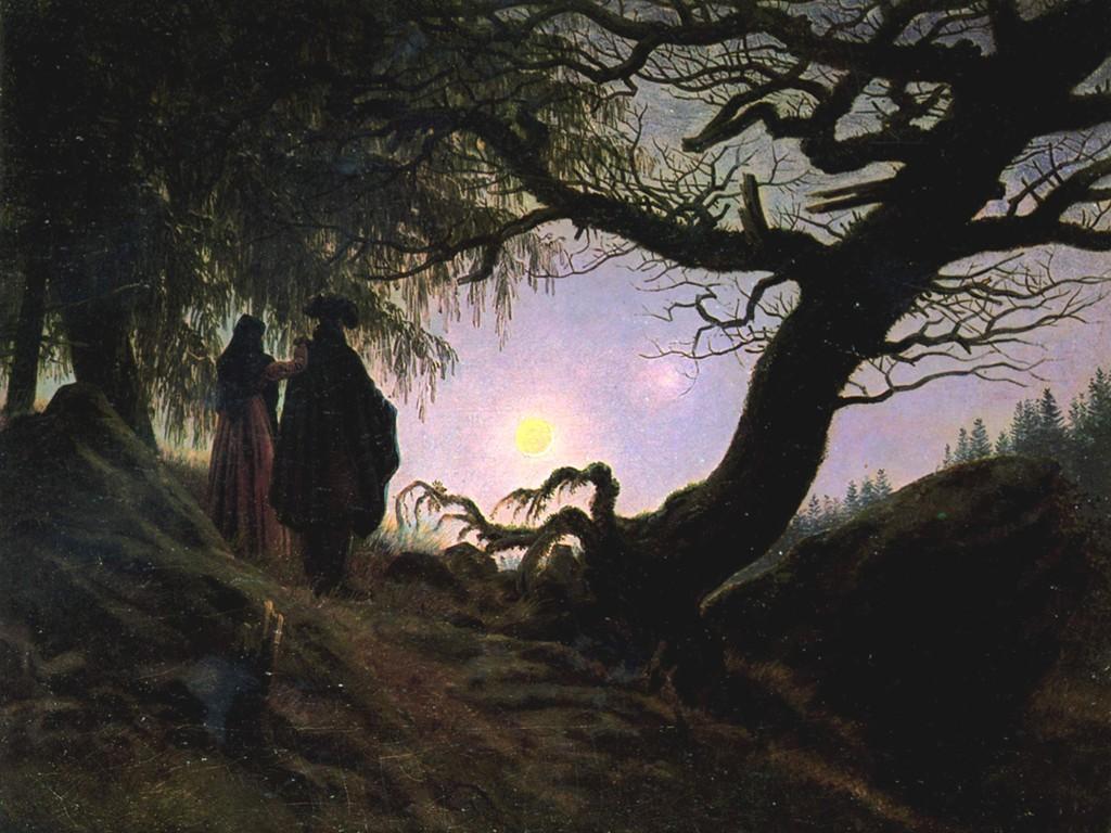 Papel de Parede Gratuito de Artes : Caspar David Friedrich - Man and Woman Contemplating the Moon