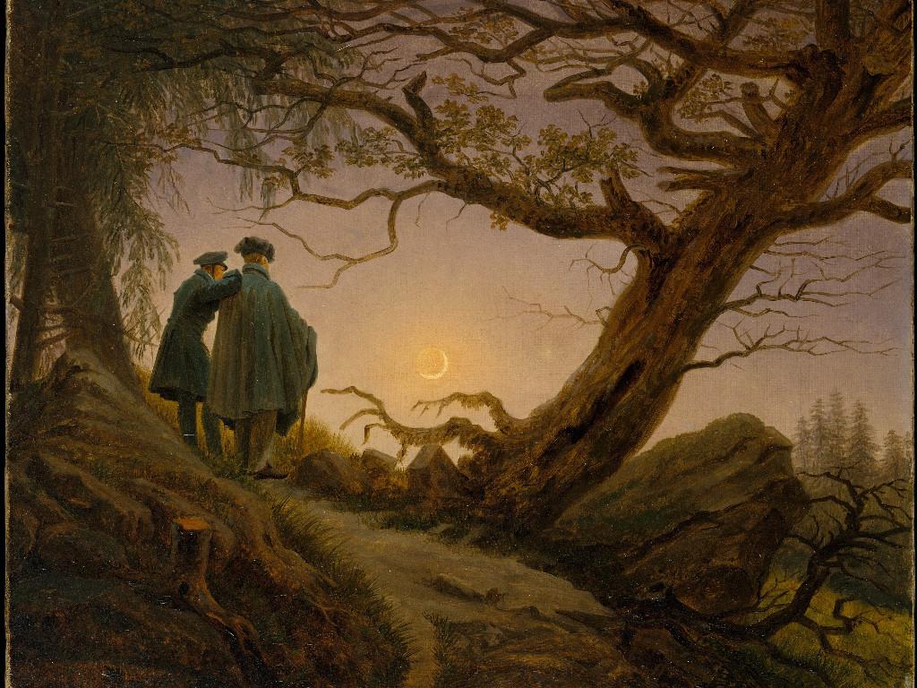 Artistic Wallpaper: Caspar David Friedrich - Two Men Contemplating the Moon