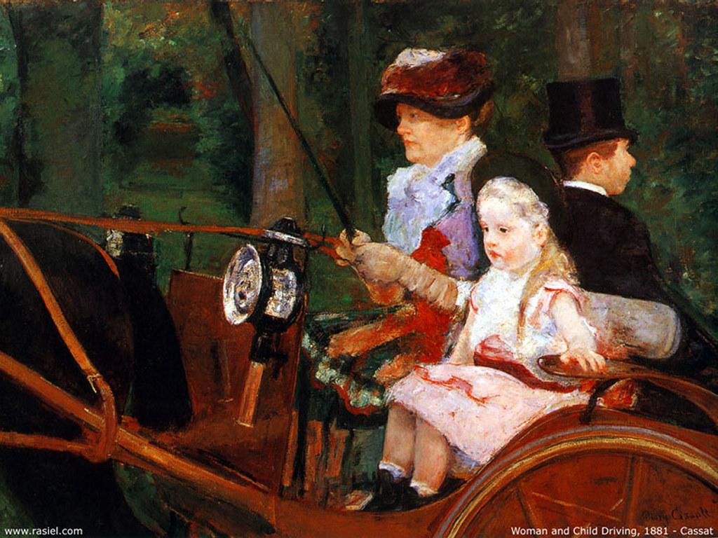 Papel de Parede Gratuito de Artes : Cassat - Woman and Child Driving