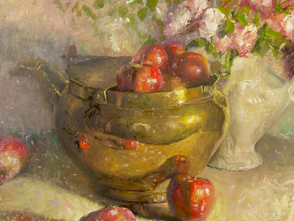 Artistic Wallpaper: Charles Warren Mundy - Brass With Apples and Roses