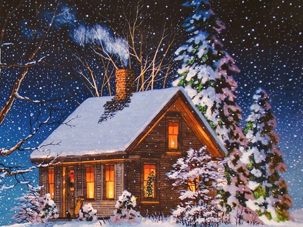 Artistic Wallpaper: Christmas Cottage - Vintage