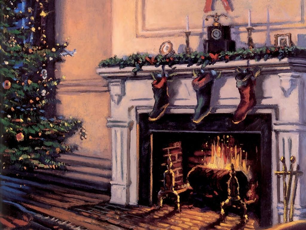 Artistic Wallpaper: Christmas - Fireplace
