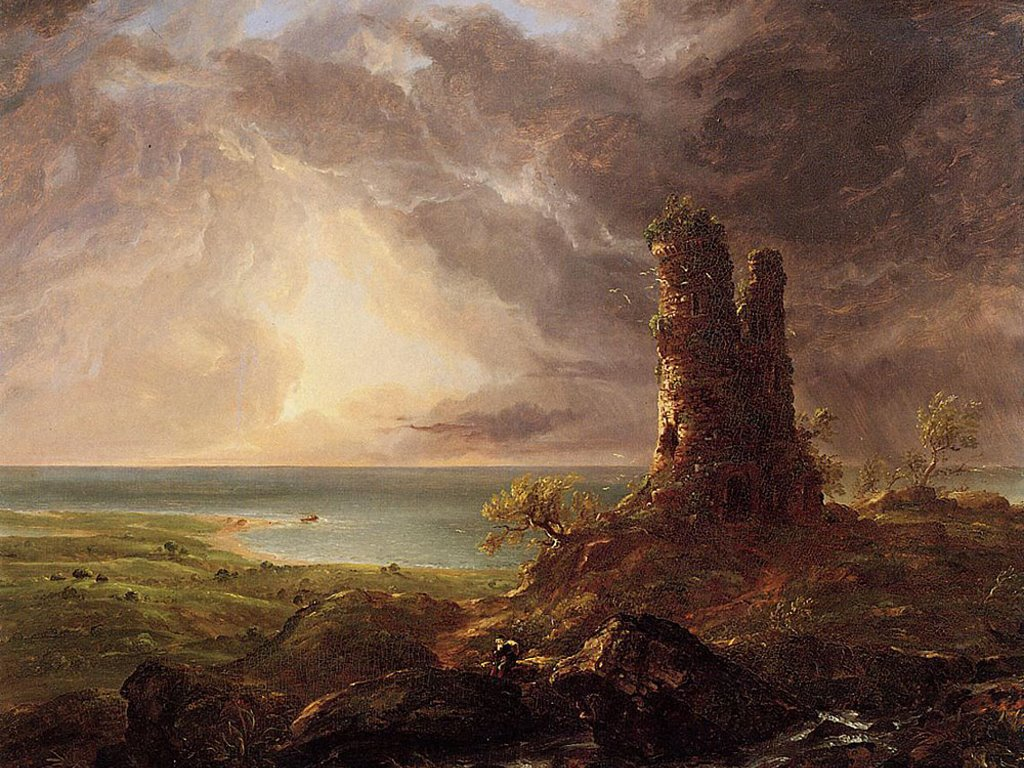 Artistic Wallpaper: Cole - Romantic Landscape with Ruined Tower