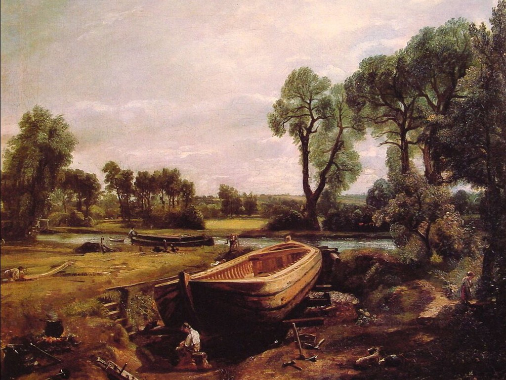 Artistic Wallpaper: Constable - Boat Building